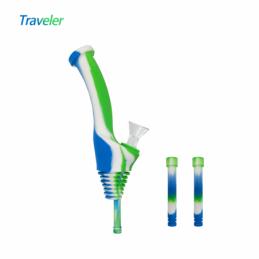 "Waxmaid 8"" Universal Traveler Water Bottle Pipe Blue White Green"