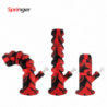 """Waxmaid 11.6"""" Springer Collapsible Silicone Water Pipe Red Black"""