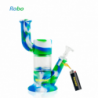 """Waxmaid 8.8"""" Robo Silicone Glass Water Pipe Blue White Green"""