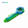 """Waxmaid 4.3"""" Freezable Silicone Ice Spoon Pipe White Green"""