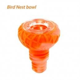 Waxmaid 14mm 18mm Bird Nest Silicone Glass Bowl Translucent Orange