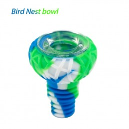 Waxmaid 14mm 18mm Bird Nest Silicone Glass Bowl Bowl Blue White Green